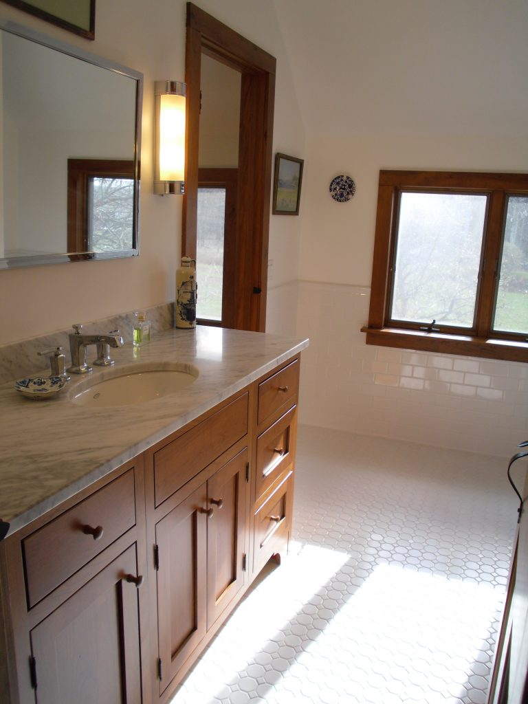 New Hartford Bath Remodeling with Mosaic Tile Floor and Inset Door Cherry Cabinet